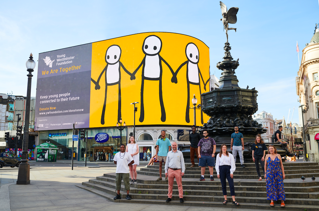 YOUNG WESTMINSTER FOUNDATION PRESENTS A NEW DIGITAL ARTWORK BY STIK ON LONDON'S ICONIC PICCADILLY LIGHTS